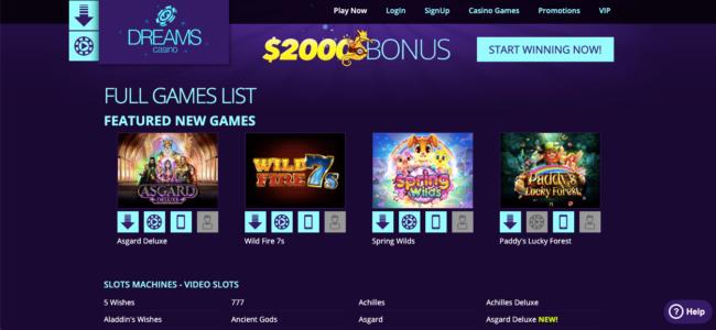 Dreams Casino website